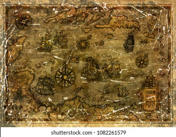 Old Caribbean Sea map with pirate sailboats and compasses. Decorative antique background with nautical chart, adventure treasures hunt concept, watercolor hand drawn illustration