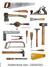 Old carpenter hand tools set collection isolated on white