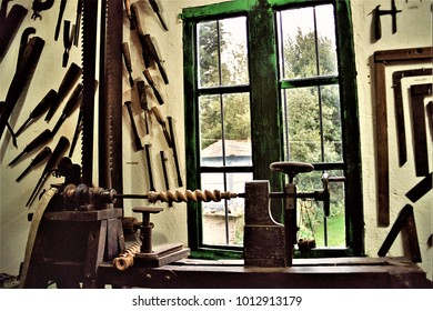 old carpenter's lathe, old carpentry workshop in a Galician rural house, Galician ethnographic museum, tools of the old trade of carpenter and cabinetmaker