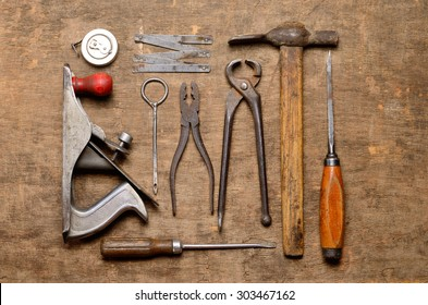 old carpenter's tools for working with wood