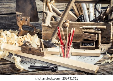 Old carpentry workbench and drawing workshop