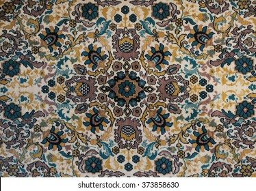 Old carpet with pattern. top view.
