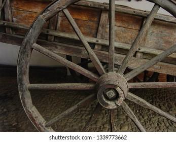 Old carriage XIII century wheel.  Quinta Anauco,  Museum of Colonial Art, Venezuela.