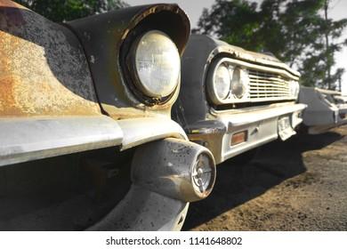 old cars in junkyard