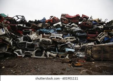Old cars on junkyard,