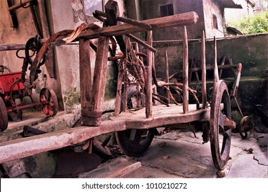 old cart for hay in rural house of Galicia,tools of the old craft of cartwright and farmer,