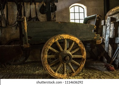 The old cart in the village barn