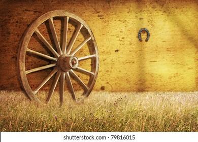 Old cartwheel in barn
