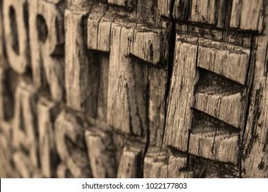 Old carved wood background.