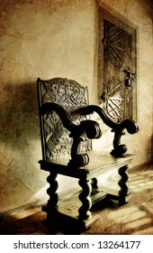 old carved wooden chair in medieval castle