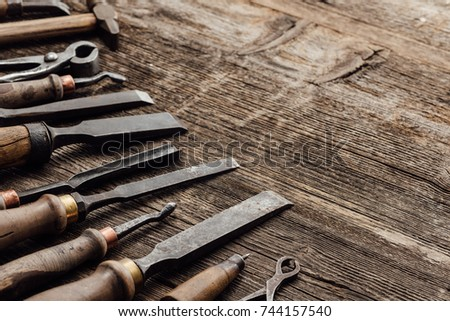 Old Carving Woodworking Tools On Vintage Stock Photo Edit Now