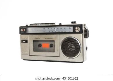 old casette radio on white