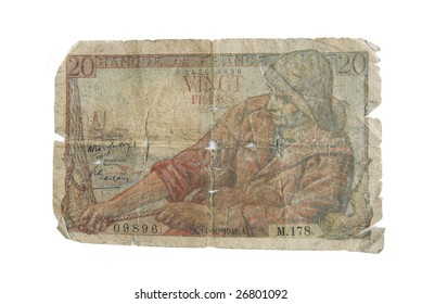 Old cash money from France isolated on white.