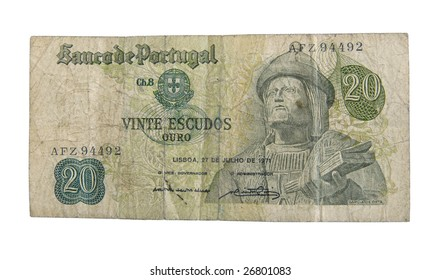 Old cash money from Portugal isolated on white.