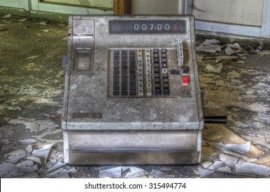 Old cash register from the GDR with buttons and display
