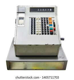 Old cash register to store isolated white
