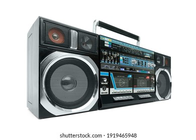 Old cassette portable boombox isolated on white background. File contains a path to isolation.