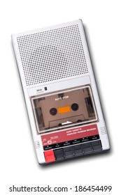 Old Cassette Tape player and recorder on a white background.