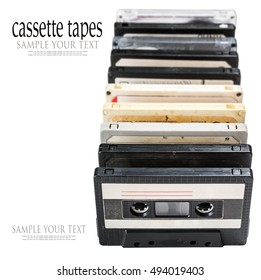 Old Cassette tapes isolated on white background. Focus on 2-3 tape. delete text