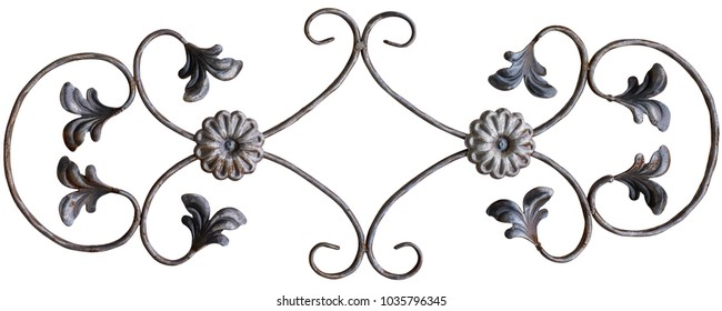 Old cast iron fence with spears isolated