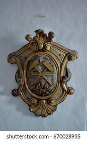 Old Castle Banska Stiavnica. Miner symbol.