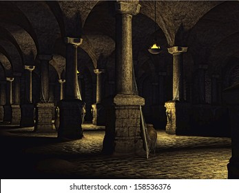 Old castle cellar with columns
