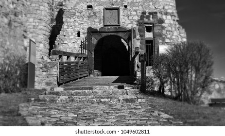 The old castle drawbridge in black and white