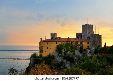 Old castle Duino in Italy near Mediterranean sea