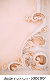 Old castle interior element - fretwork on a gently pink wall