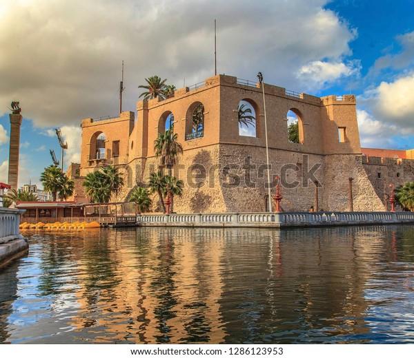 An Old Castle at the Mediterranean sea near downtown Tripoli Libya