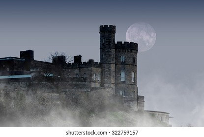 Old castle in the night with moon