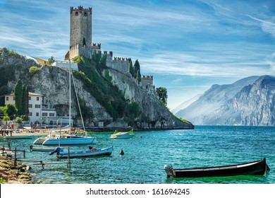Old castle on the rock. Lake Garda.Malcesene.