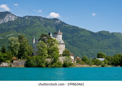 Old castle over the Alps at Annecy Lake in France.
