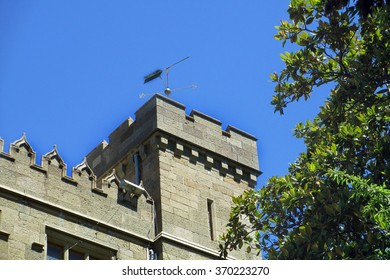 The old castle (palace) of graf Voroncov and itâ??s weathervane in Alupka (Crimea, Russia)