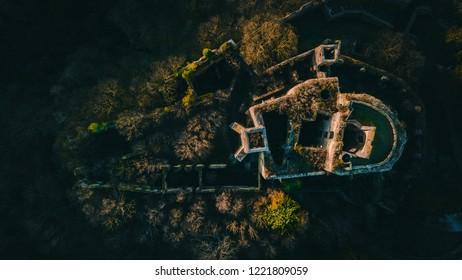 old Castle ruin Landsee, Drone Shot, Burgenland, Austria