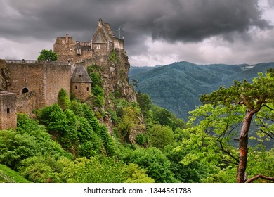 Old castle ruins with the view to Danube river valley. Aggstein, Austria, Wachau valley, popular travel destination.