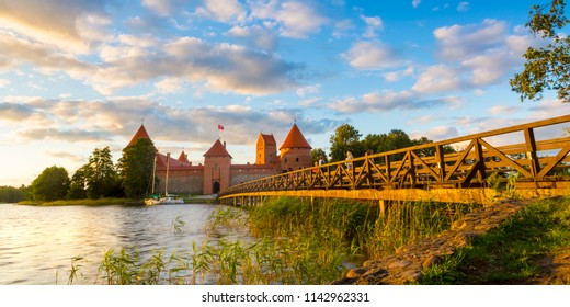 Old castle in sunset time. Trakai, Lithuania, Eastern Europe.