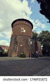Old castle tower on a small street in Borken in Germany