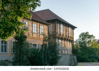 old castle of wolfsburg - fallersleben, germany in natural evening light