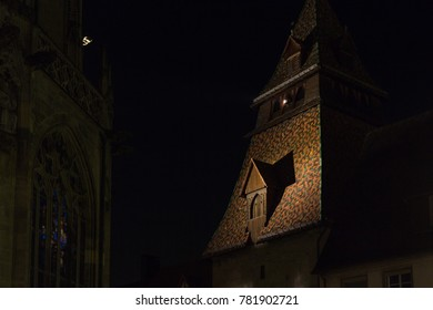 old cathedral facade in a historical city at south germany at sylvester evening near city munich and stuttgart