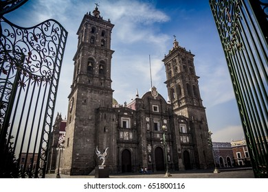 Old Cathedral of Puebla, with colonial style