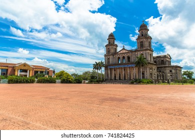 "Old Cathedral in Revolucion Square that was damaged by an earthquake in Managua Nicaragua with a quote form the poet Ruben Dario, born in 1867, ""If the country is small, one dreams it large""."