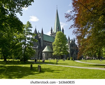 Old cathedral in Trondheim, Norway,,