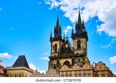 Old cathedral Tynsky chram in Prague, Czech republic - view from Staromestke namesti - Shutterstock ID 1772879378
