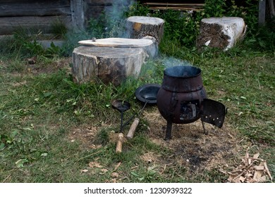 Old cauldron for outdoor cooking