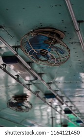 The old ceiling fan on the bus of Thailand.