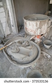 old cement concrete mixer at construction site