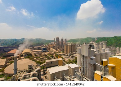 Old cement plant factory manufacturing and other plant  with the blue sky and cloud