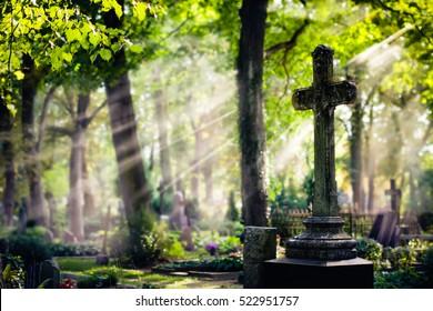 Alter Friedhof mit einem großen Kreuz. Lettland. Selektiver Fokus.
