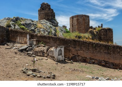 Old cemetery and castle in Magacela. Extremadura. Spain.